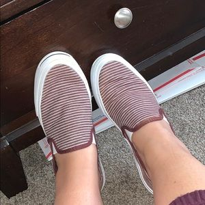 Converse Jack Purcell Maroon Red Striped Slip On